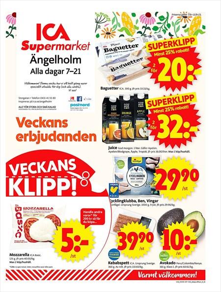 ica supermarket ängelholm öppettider
